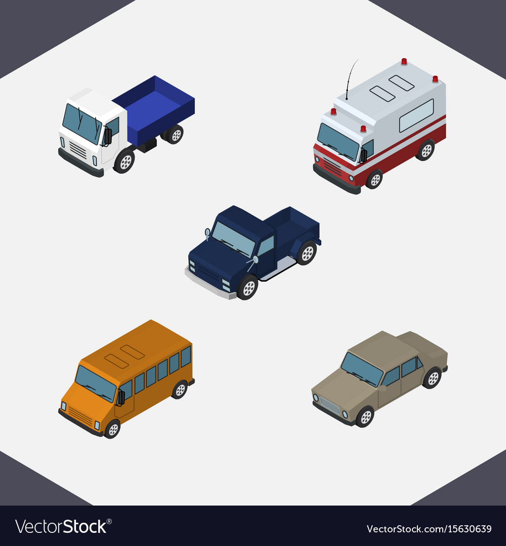 Isometric automobile set of autobus suv first vector image