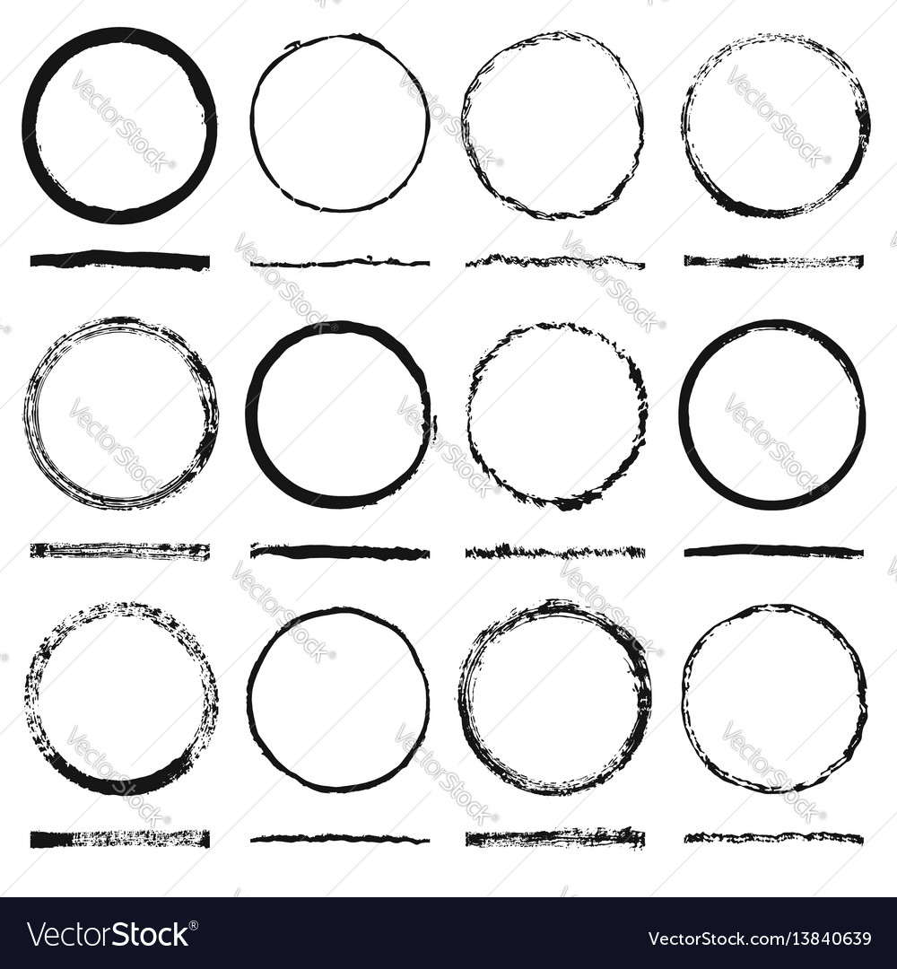Set of round frames sloppy shape and texture