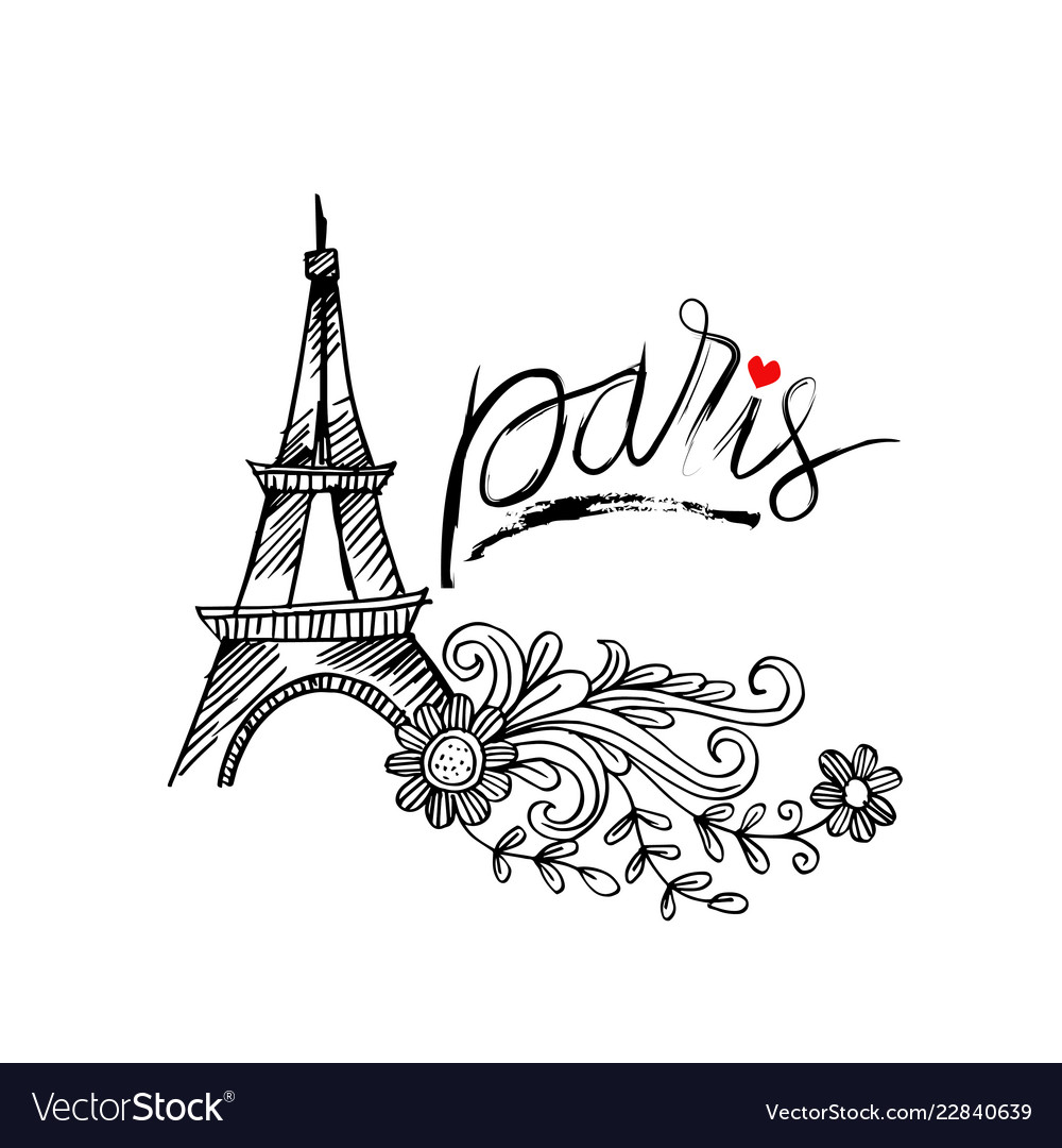Sketchy of eiffel tower in paris symbol of france