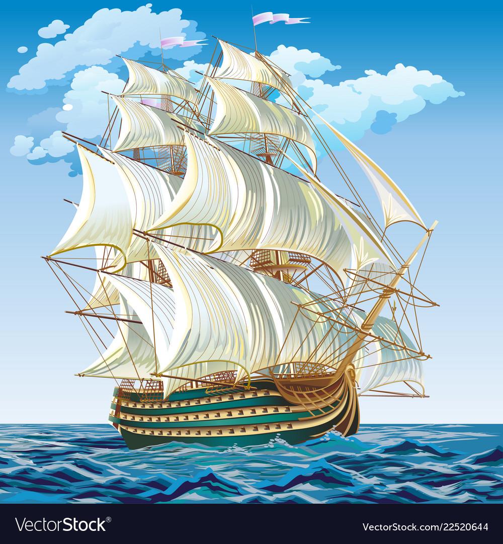 A medieval sailing ship