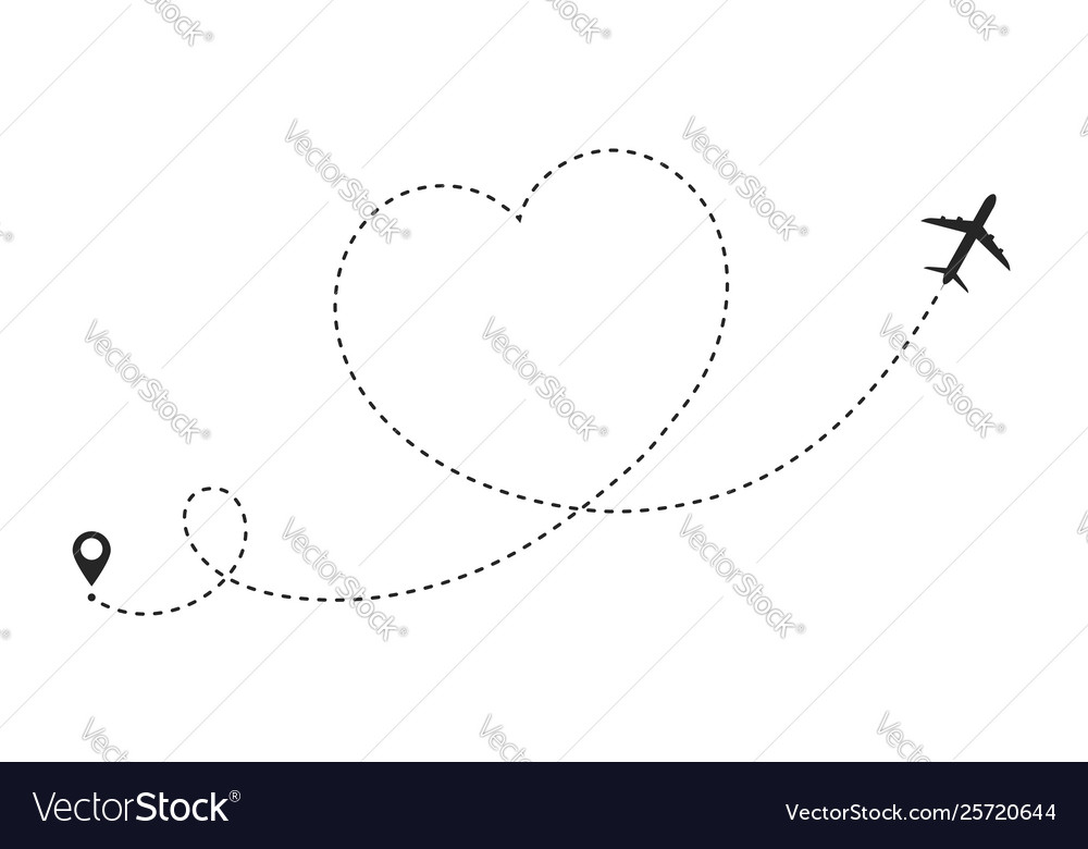 Airplane route in heart shape romantic travel