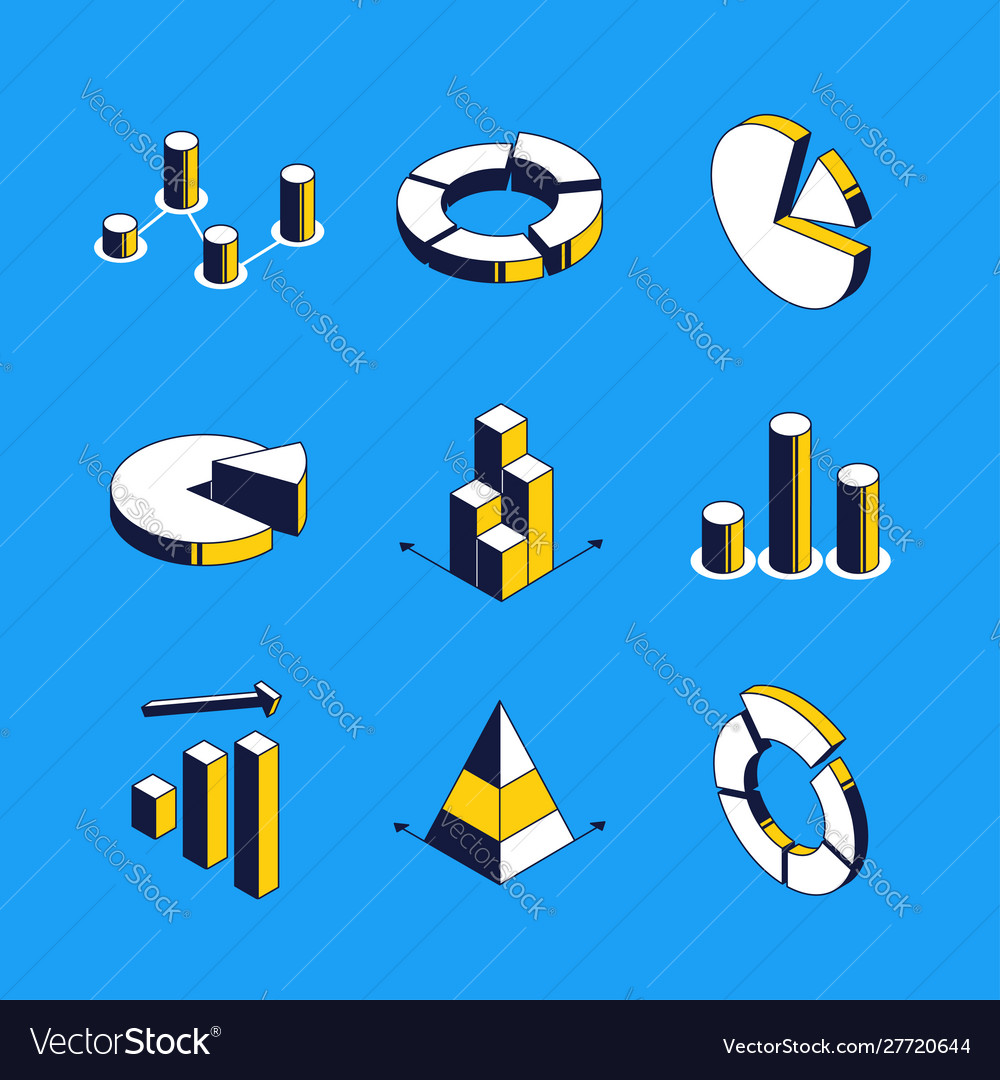 Charts and diagrams - isometric icons set