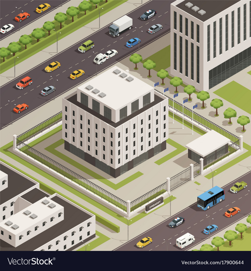 City government buildings isometric composition