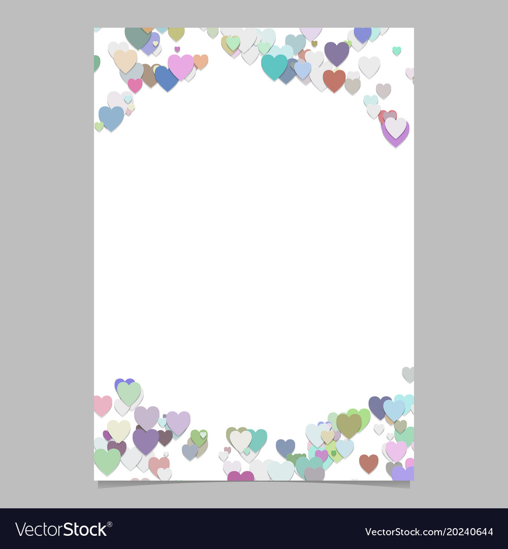 Colored random heart page background design vector image