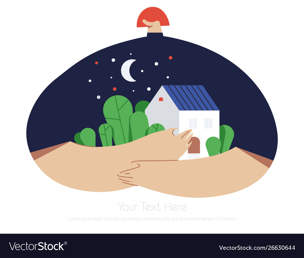 Girl with home on modern background