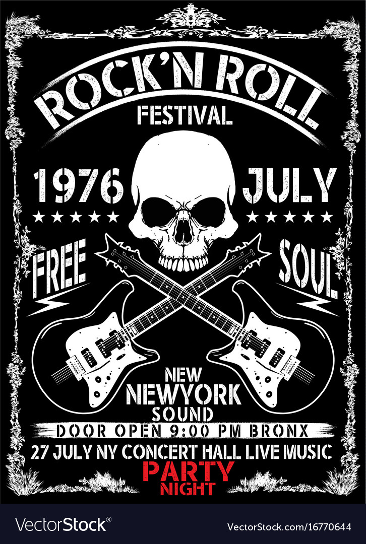 hand drawn rock festival poster rock and roll sign