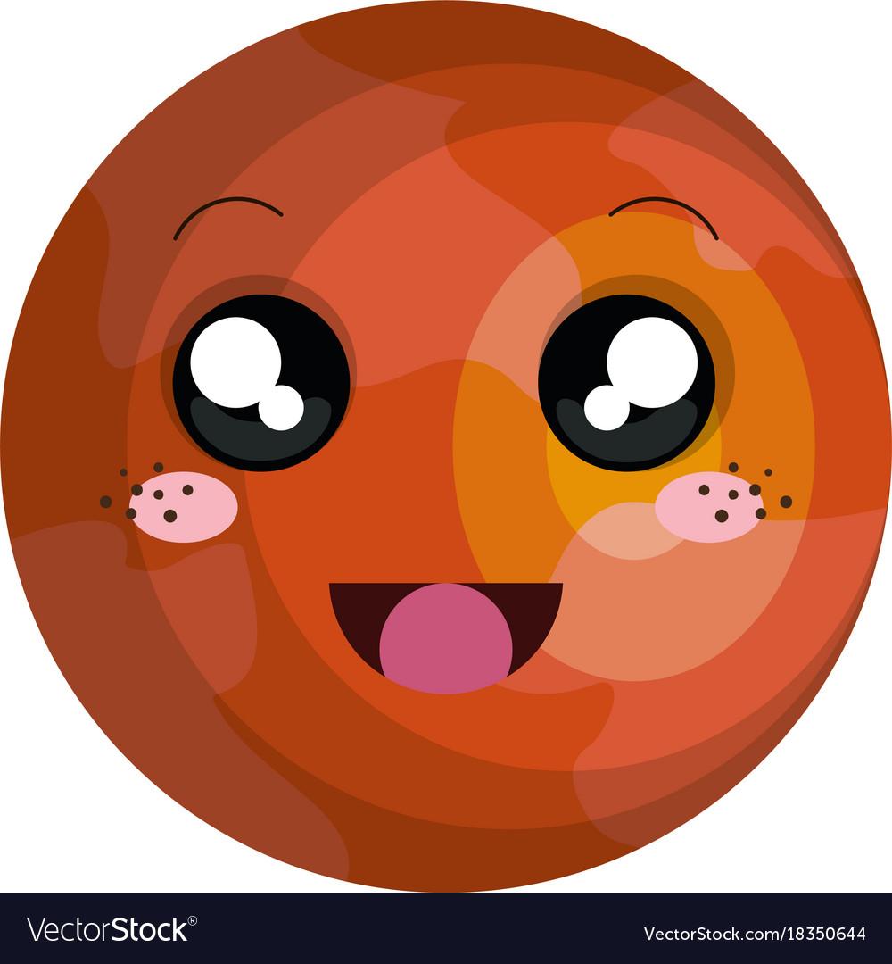 Planet kawaii. Mars character