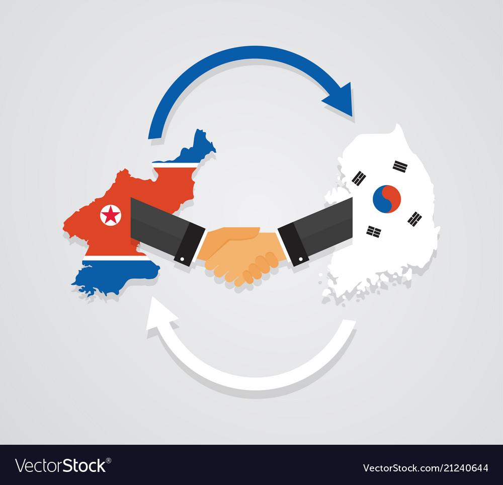 Representatives of the south and north korea shake