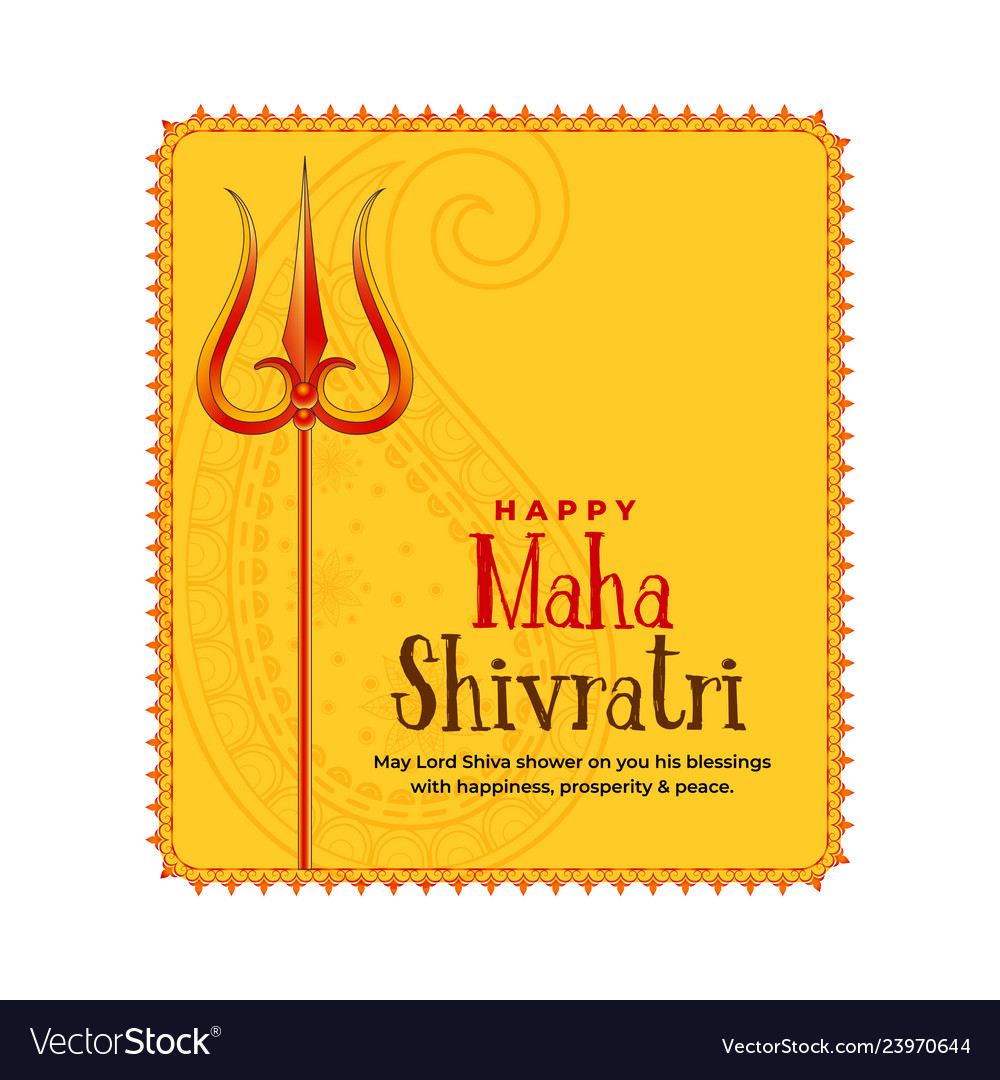 Shivratri festival greeting with trishul symbol