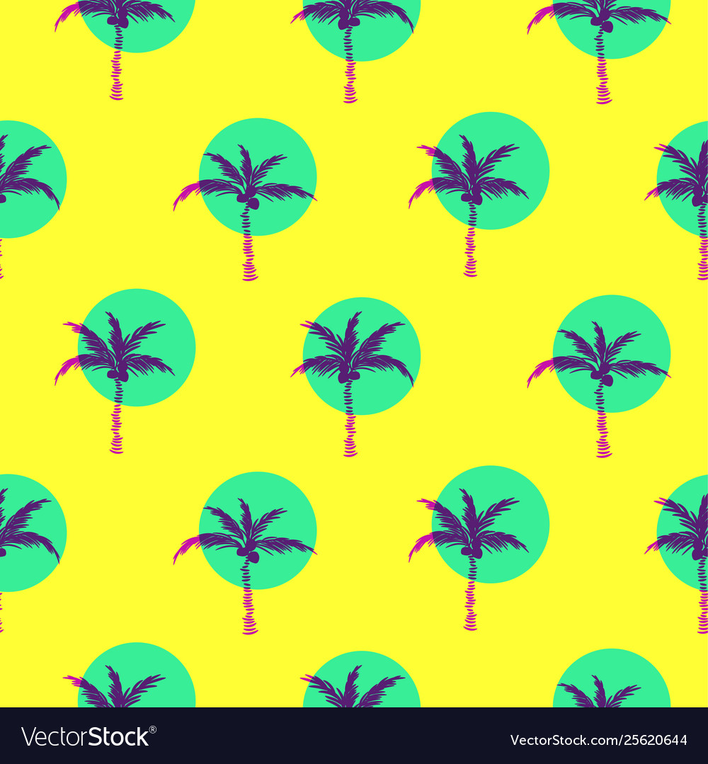 Stylized bright yellow palm trees circled style