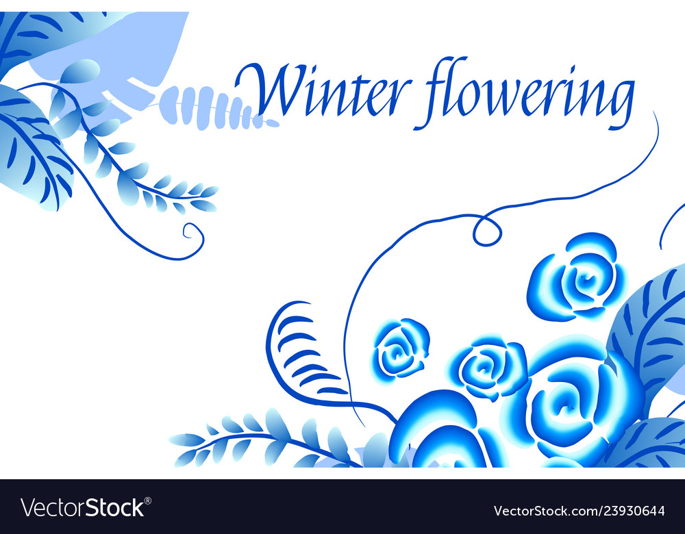 Winter flowering abstract floral background