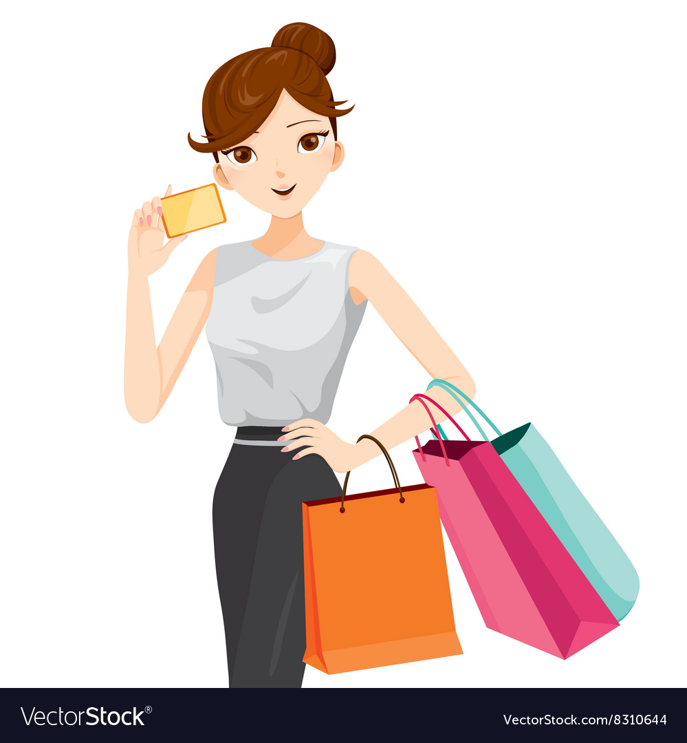 ada5a70d133 Woman holding card and shopping bags Royalty Free Vector