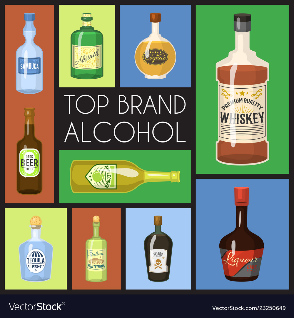 Alccohol banner wine list template for bar or