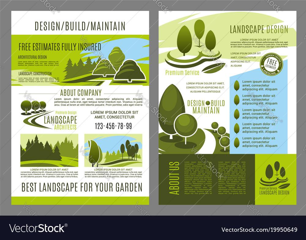 brochure of landscape design build royalty free vector image