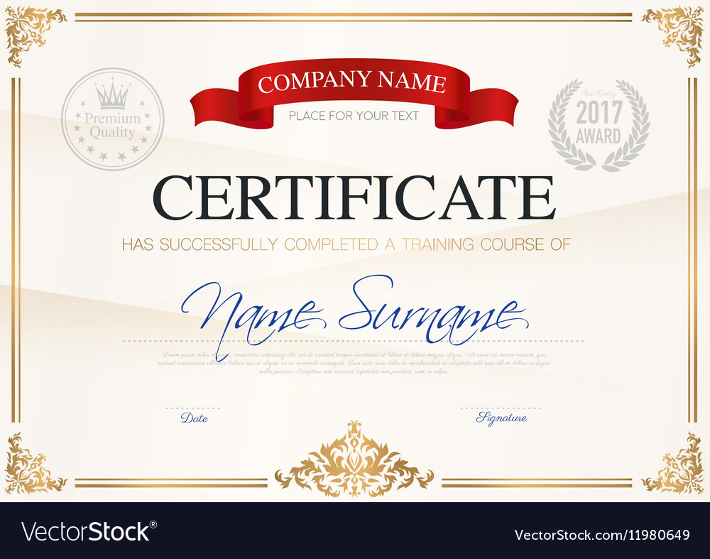 Certificate Of Completion Template Royalty Free Vector Image
