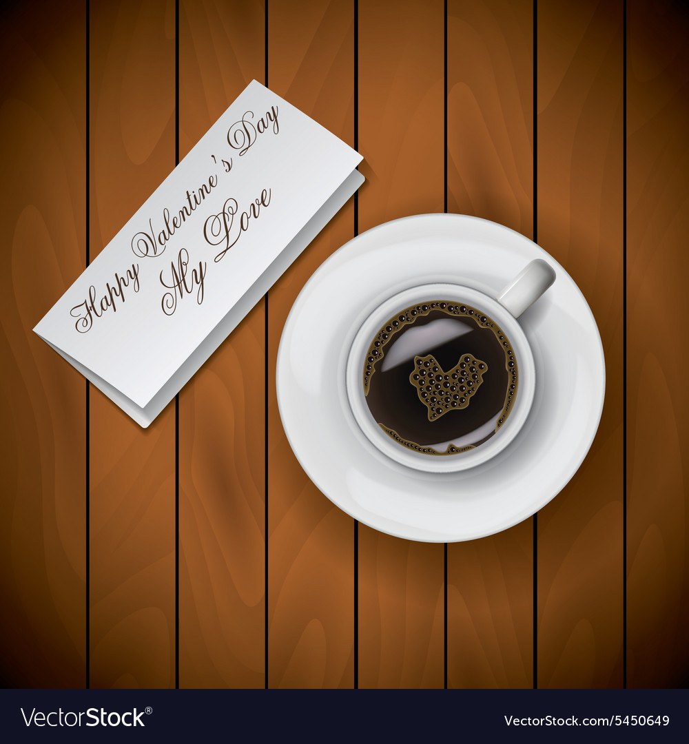 Coffee cup with letter on wood background raster