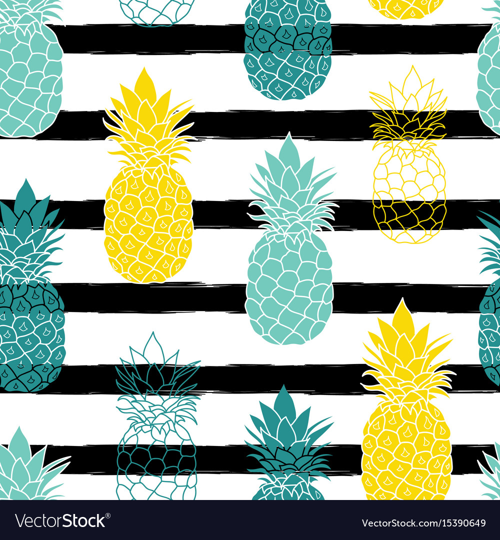 Colorful pineapples on black stripes repeat