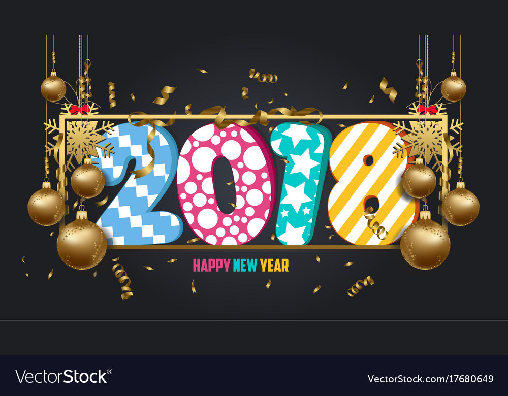 happy new year 2018 wallpaper gold balls and vector image