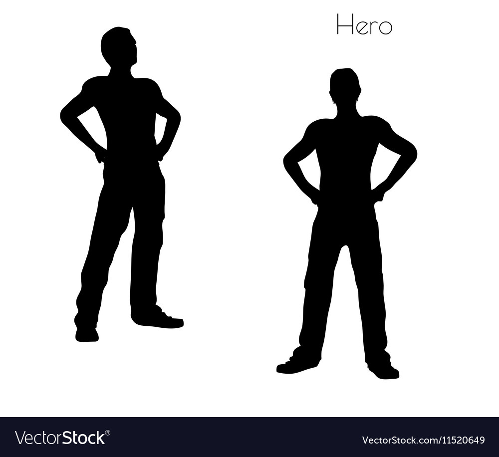 Man in Hero pose on white background