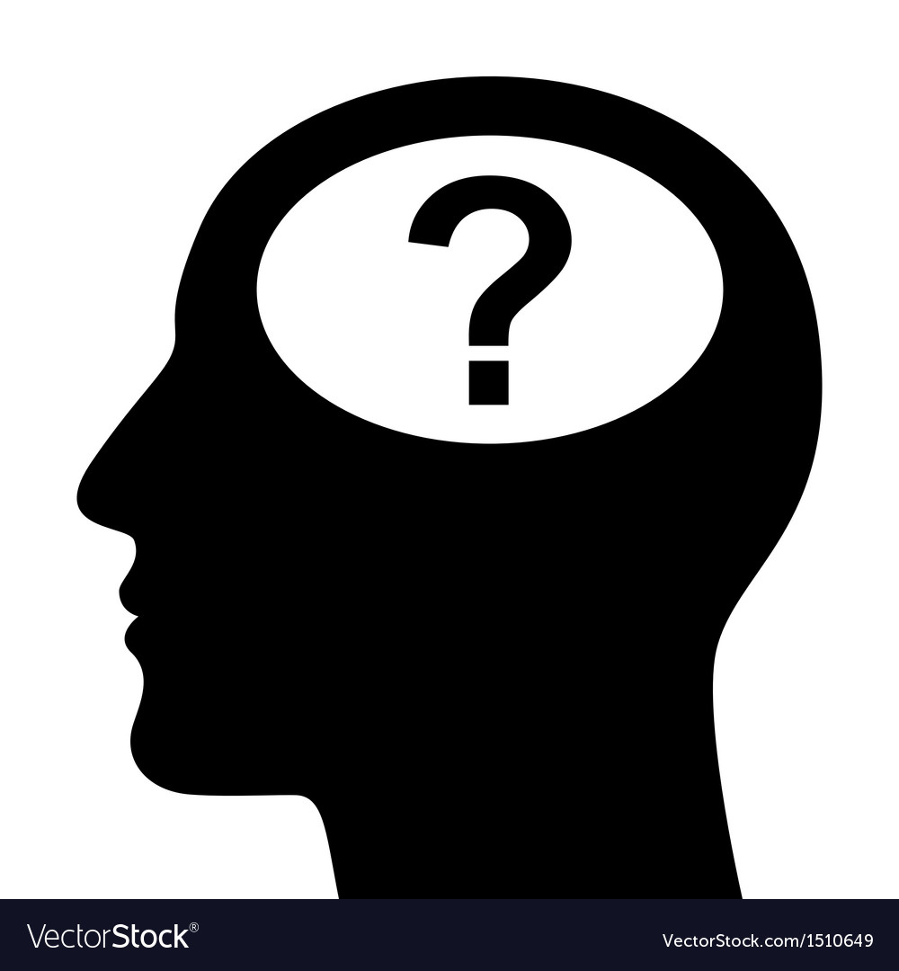 SIlhouette of head with question mark