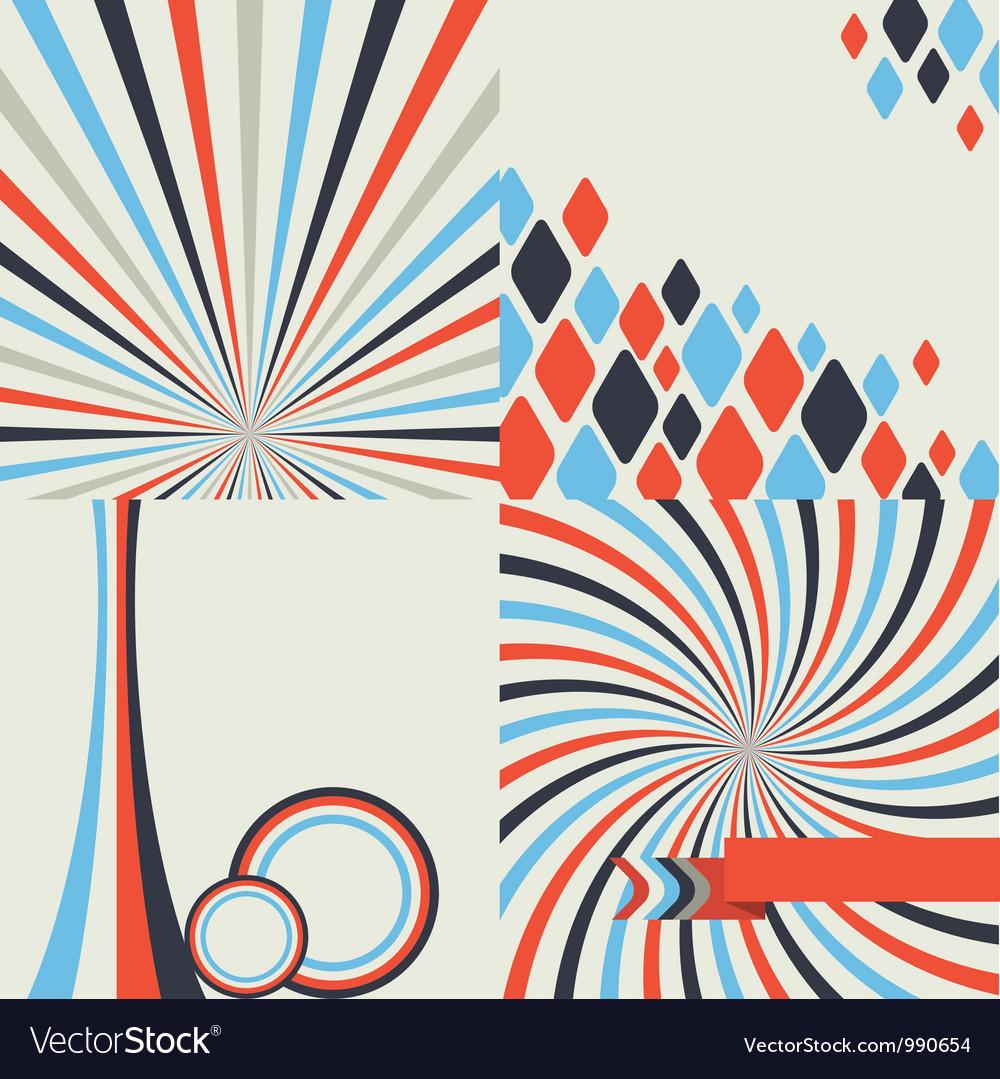 Abstract retro style geometric background set