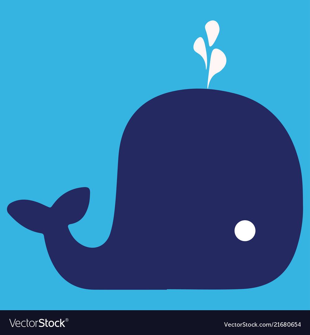 Cartoon whale with the fountain