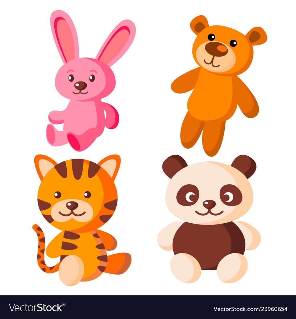 Children soft toys bear tiger hare