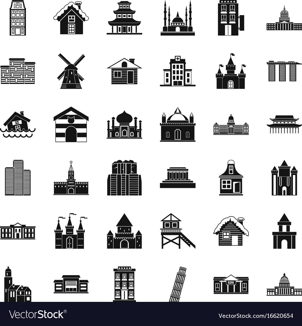 city building icons set simple style royalty free vector