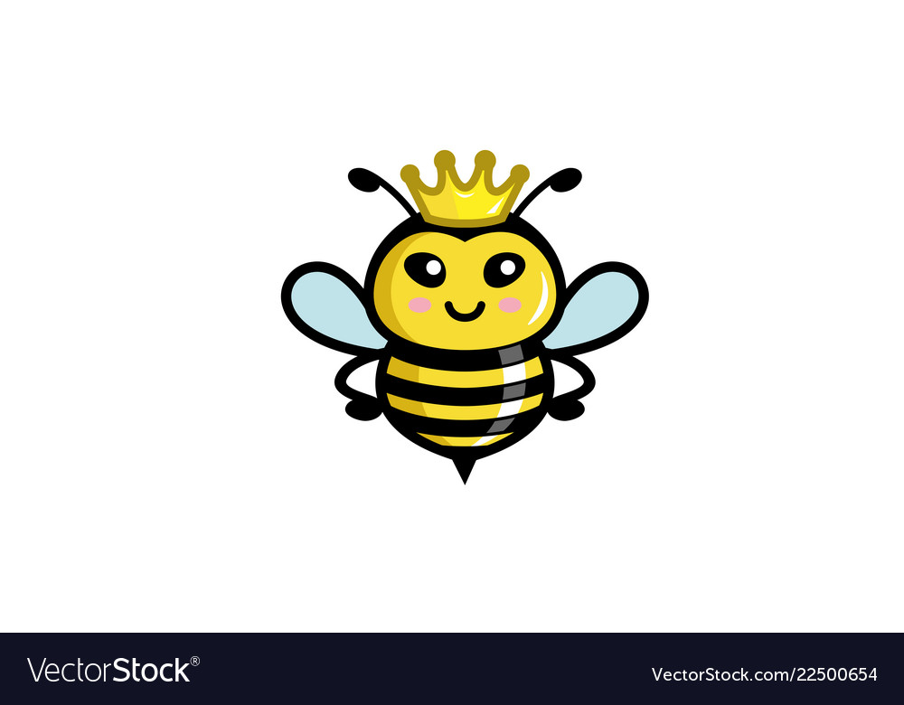 Creative cute little bee queen logo