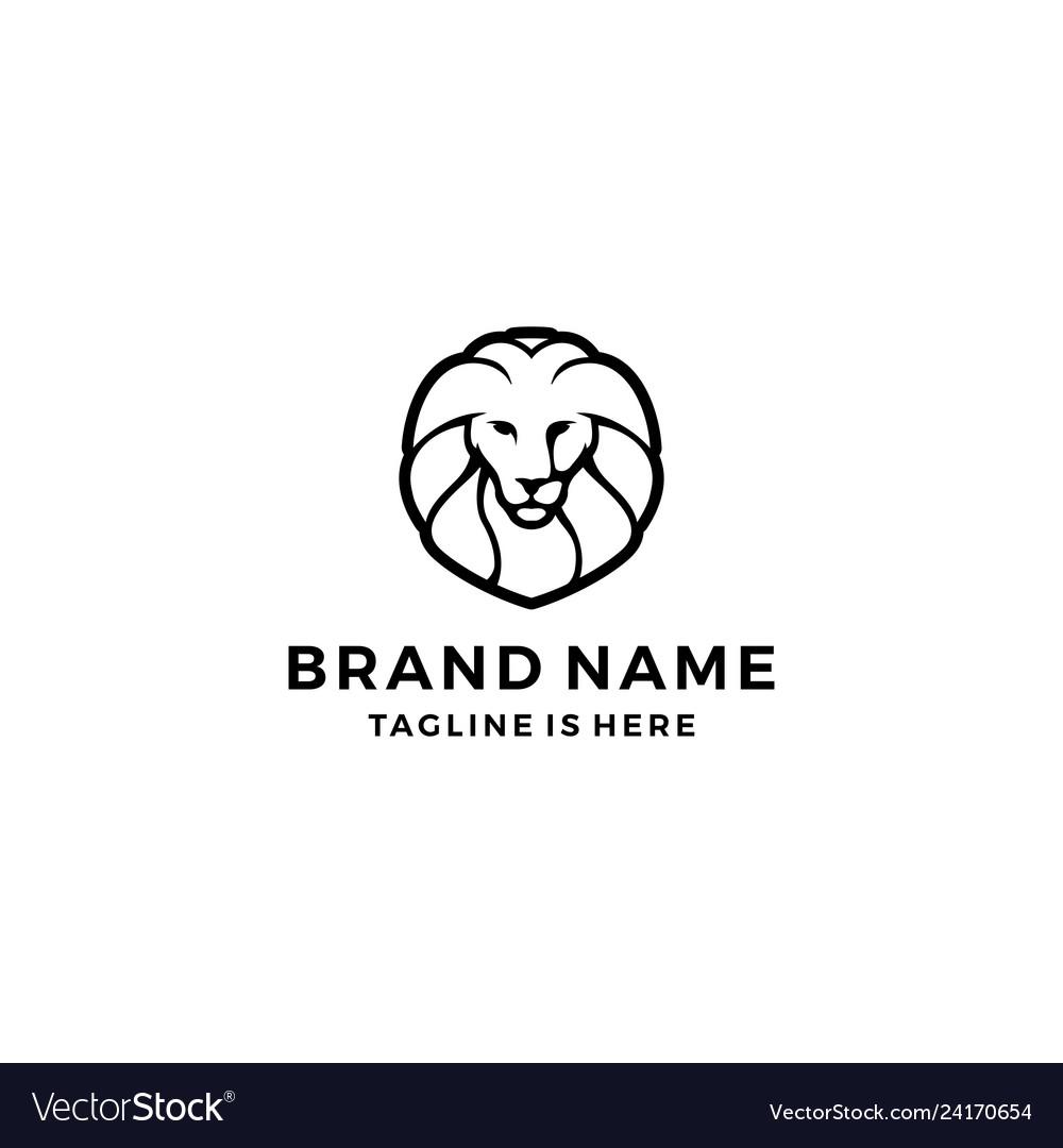 Lion logo head face template icon