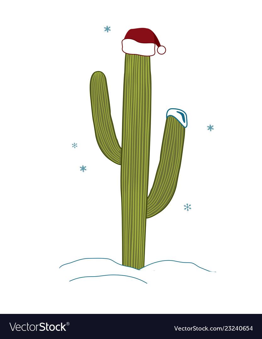 7934e8ef164ea Saguaro cactus wear santa hat for christmas Vector Image