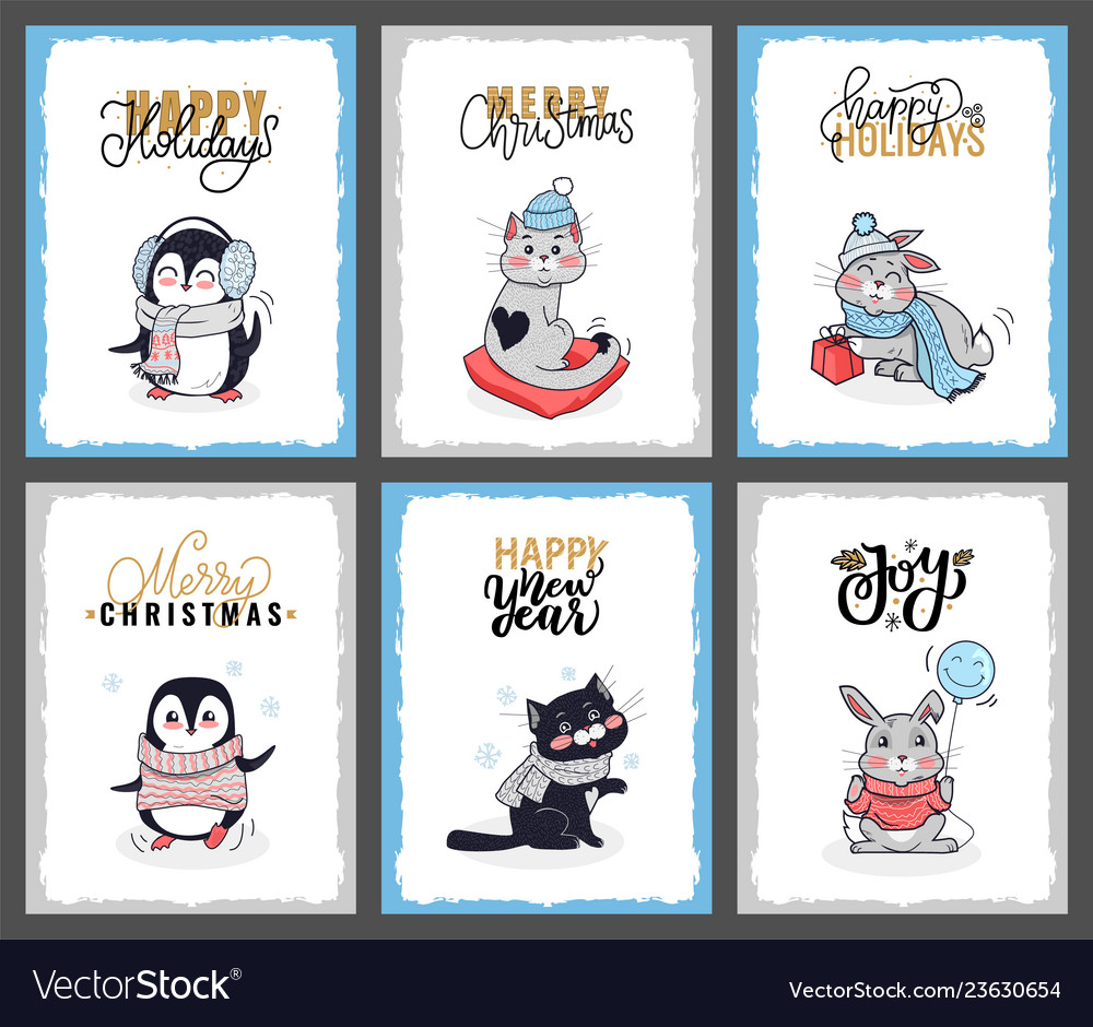 Set cartoon animals with lettering wishes
