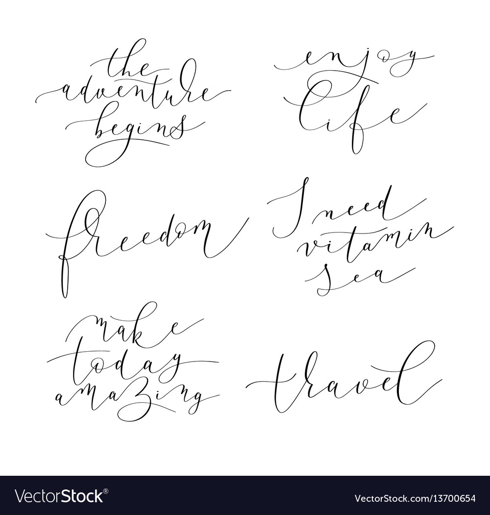 Set of 6 hand written lettering positive quotes