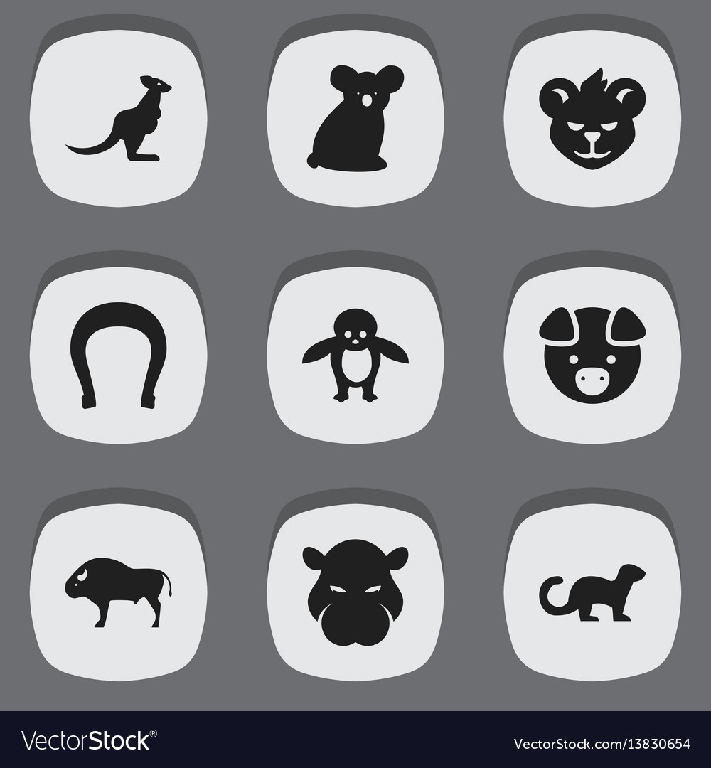 Set of 9 editable zoo icons includes symbols such
