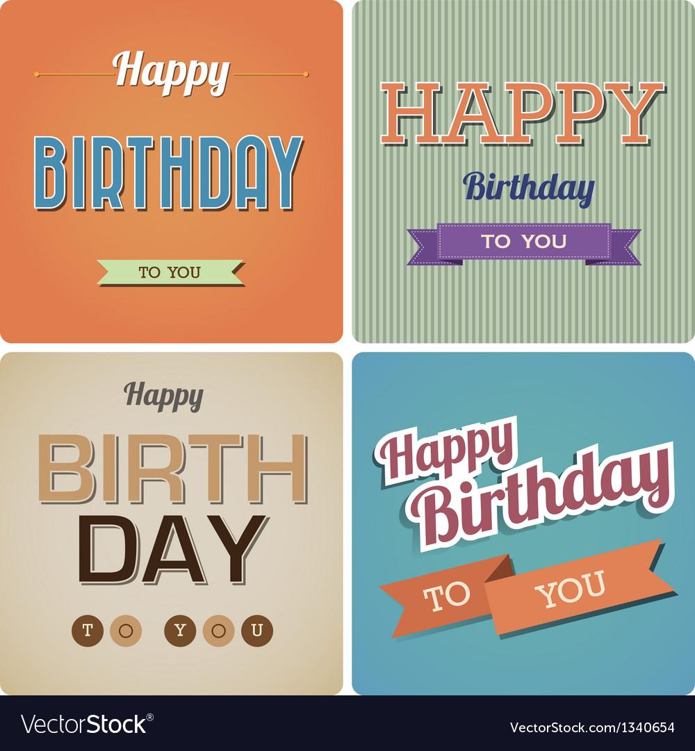 Vintage Happy Birthday Card EPS10 vector image