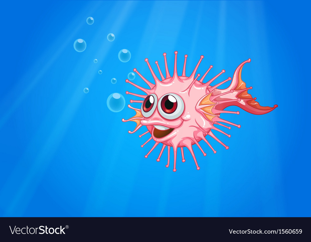 a pink puffer fish in the ocean royalty free vector image