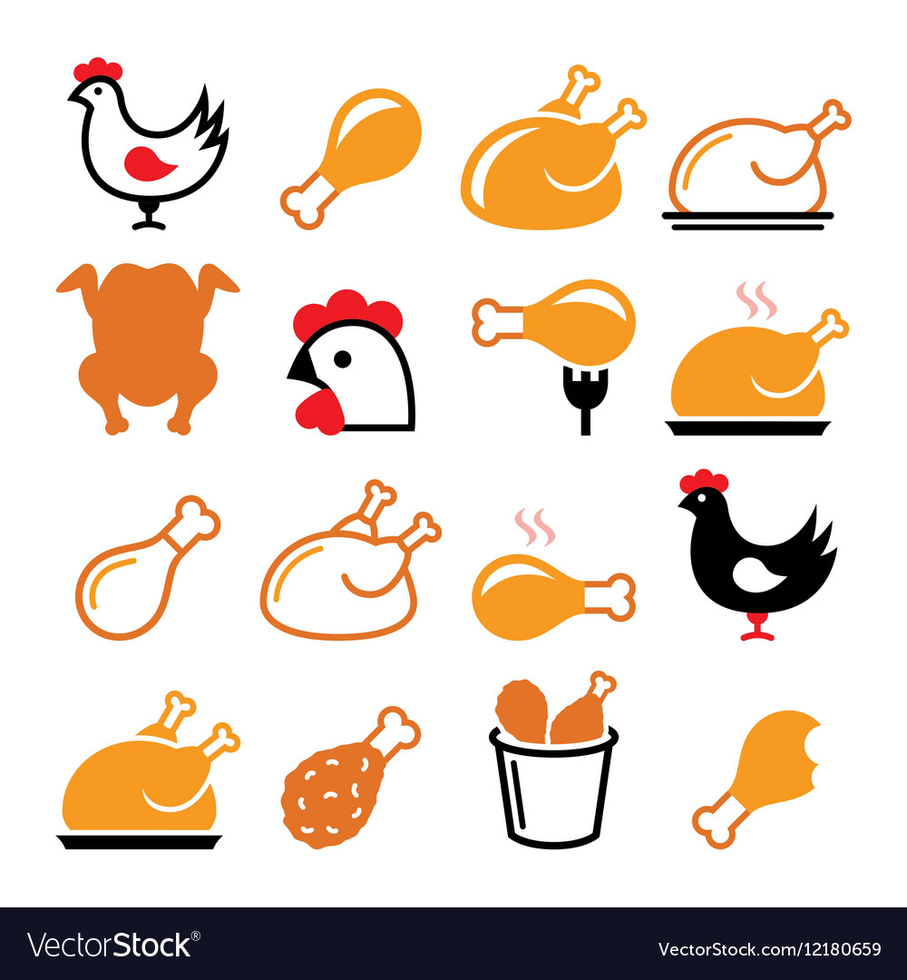 Chicken Fried Legs Food Icons Set Vector Image