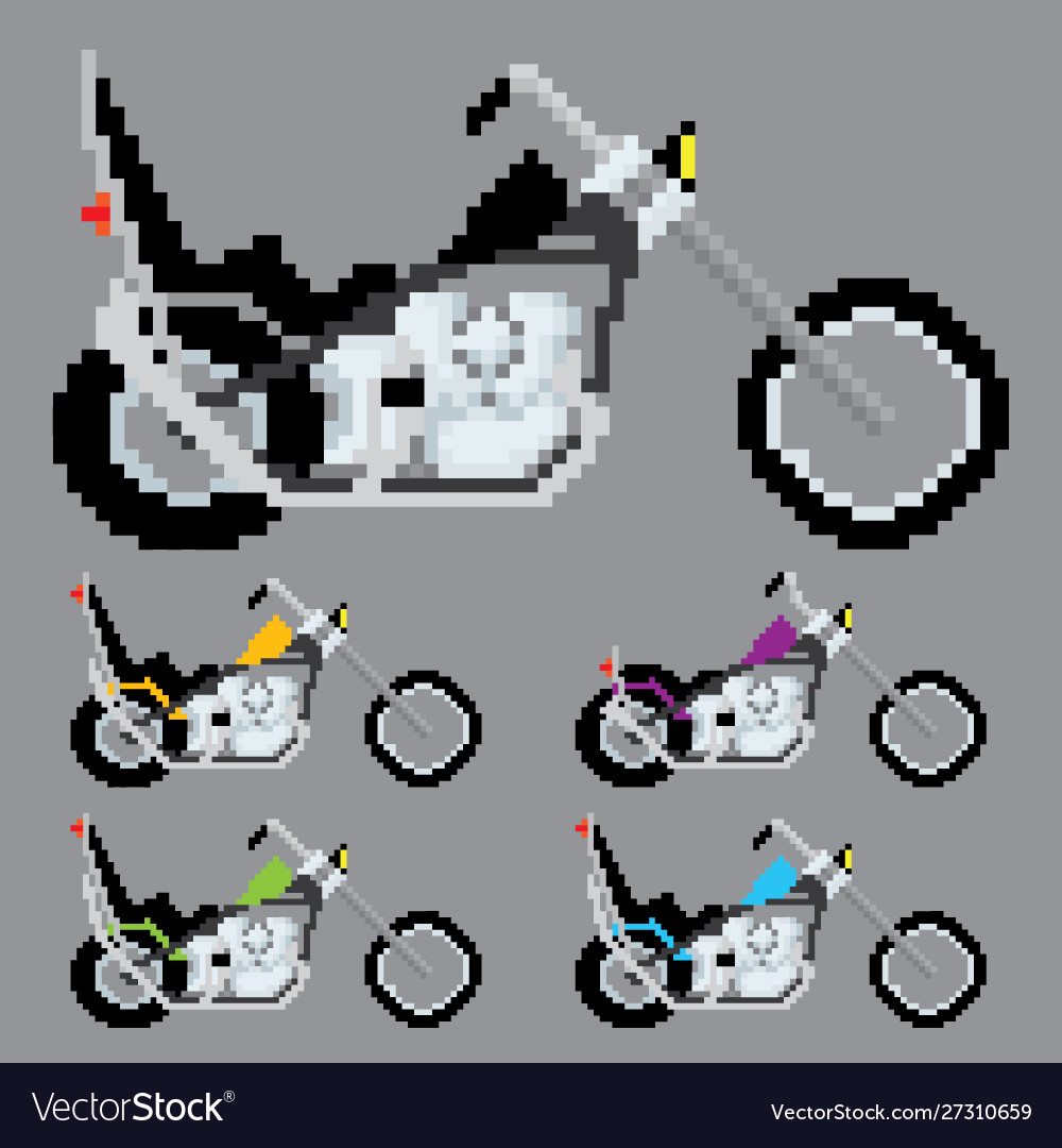 Chopper Motorcycle Pixel Art Royalty Free Vector Image