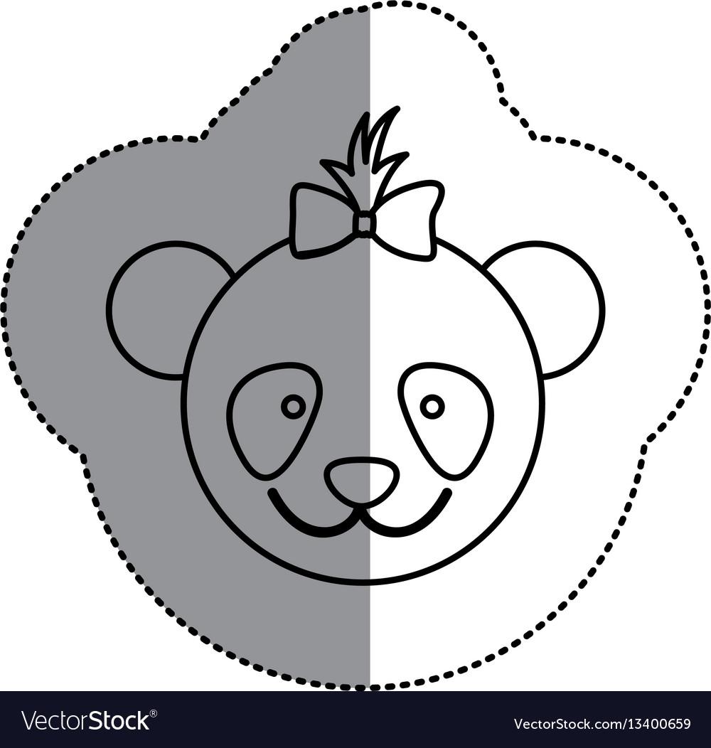 Contour face bear bow head icon vector image