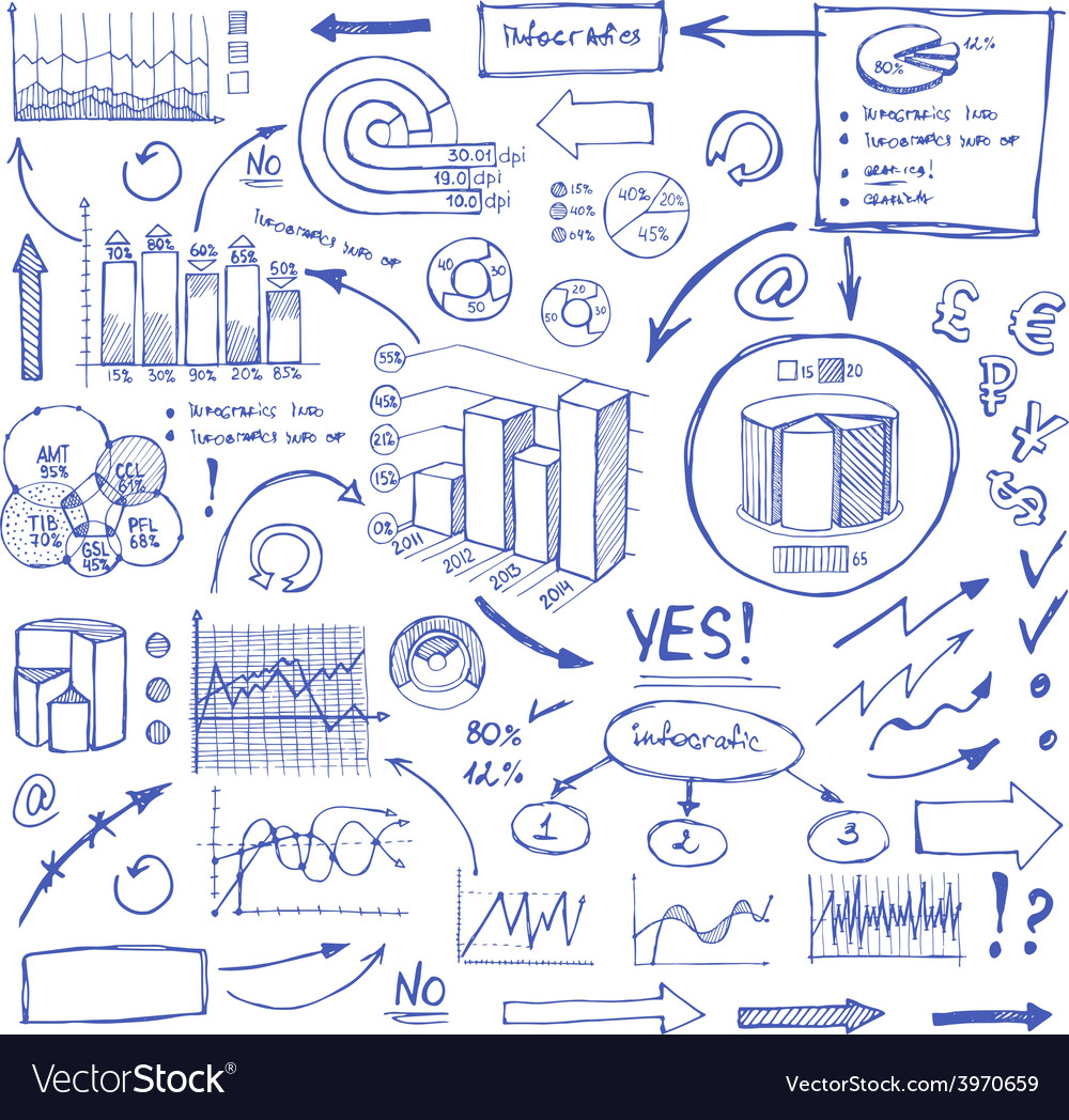 Doodle blue business charts and arrows on white