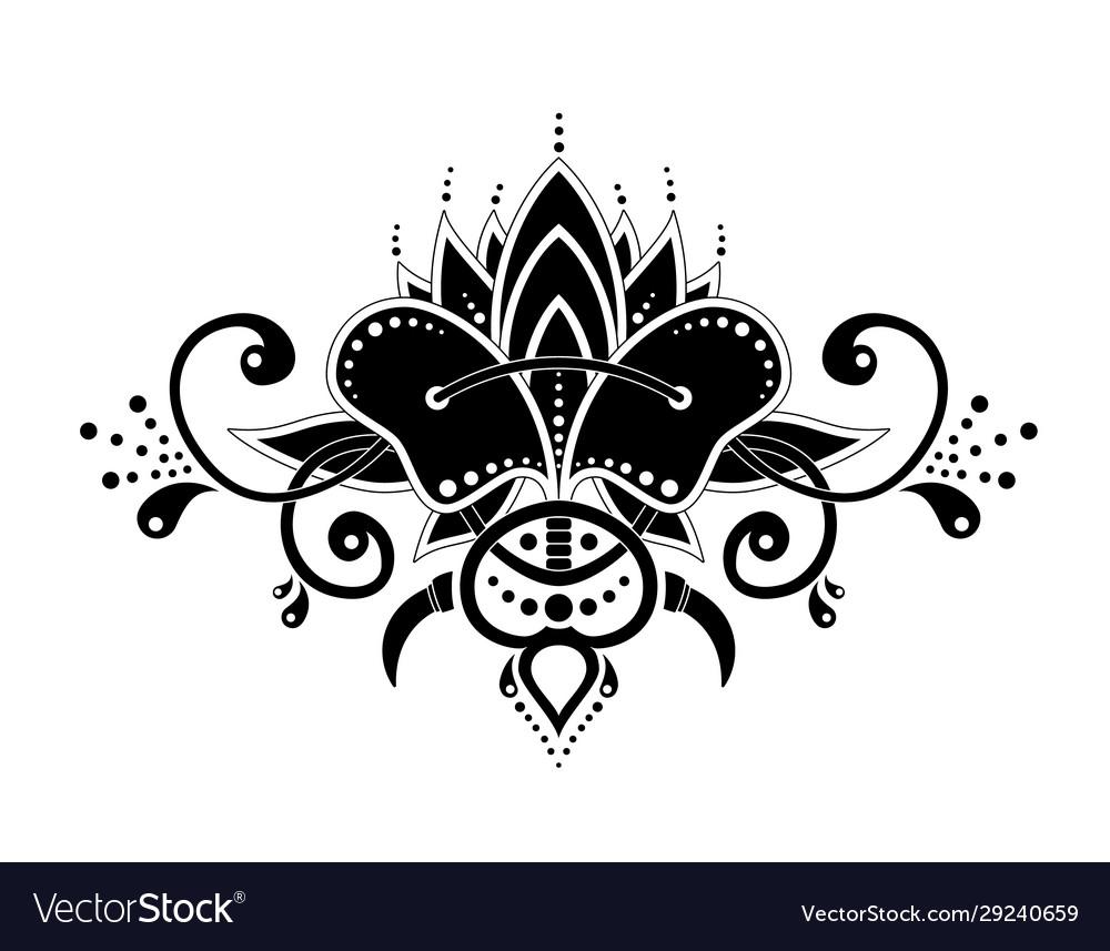 Mehndi organic motif pattern for henna drawing and