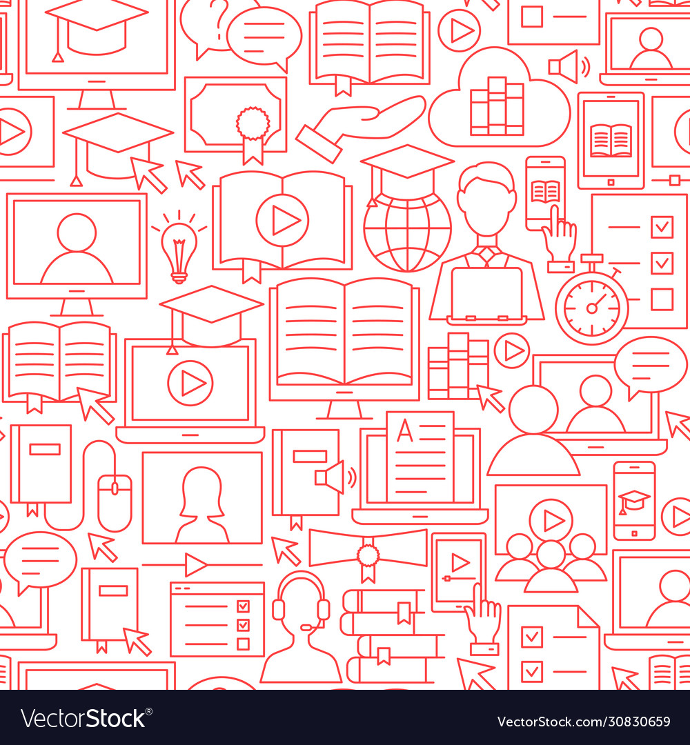 Online education line seamless pattern