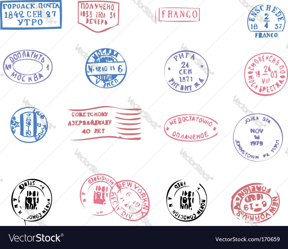 Postmarks traced vector image
