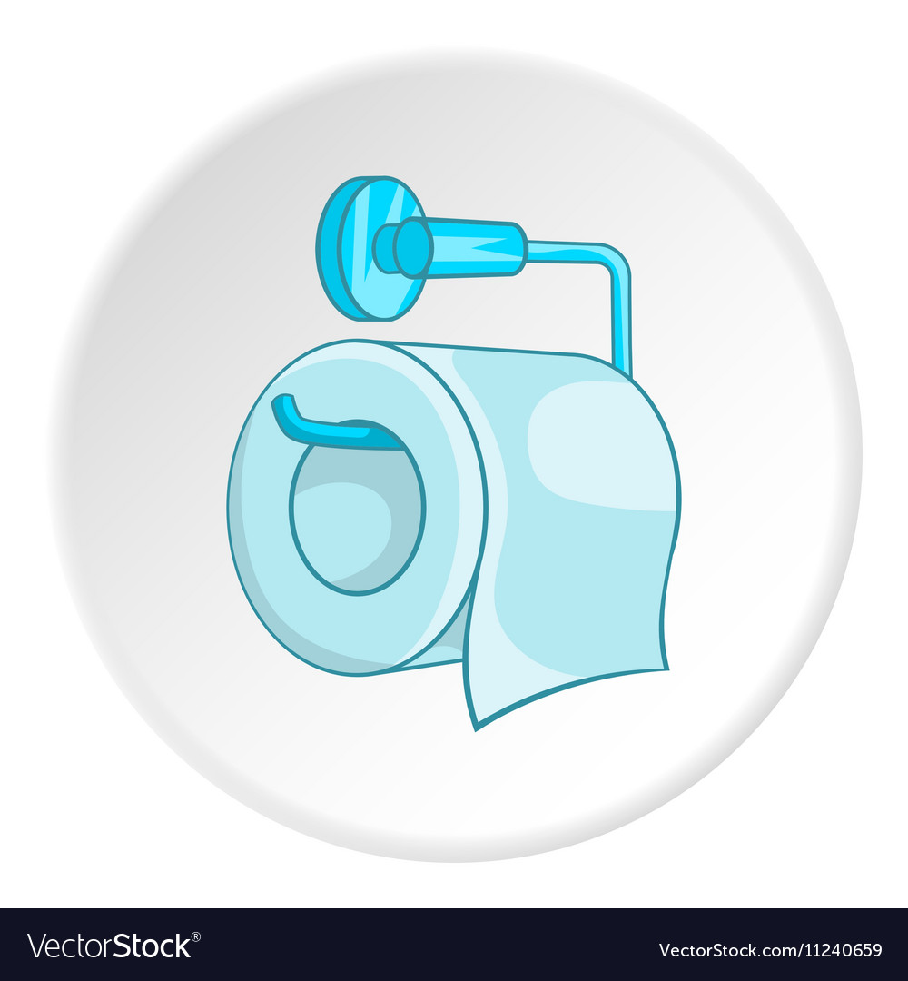 Roll of toilet paper on a metal holder icon vector image