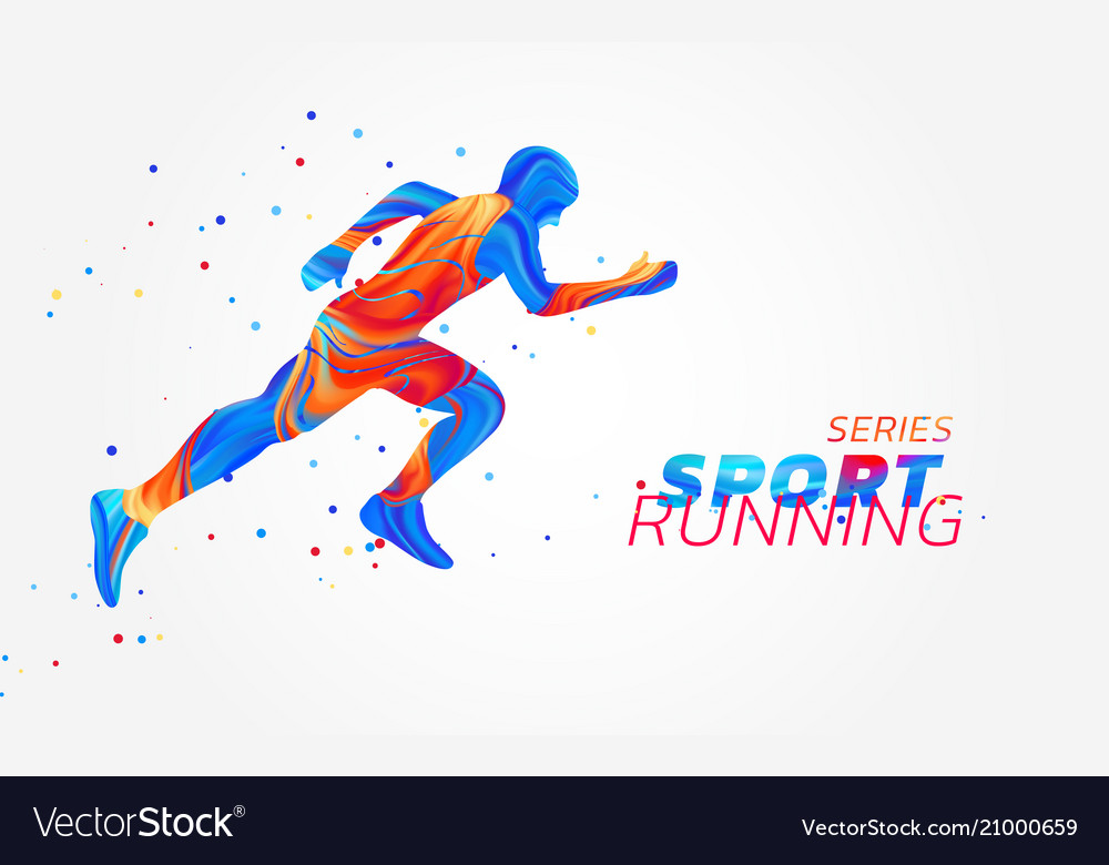 Runner with colorful spots isolated on white