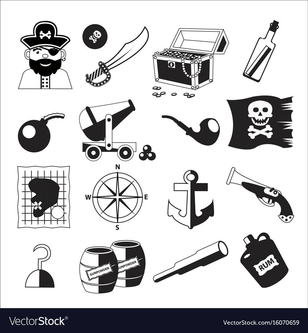 Set of pirate and sea elements in black and white