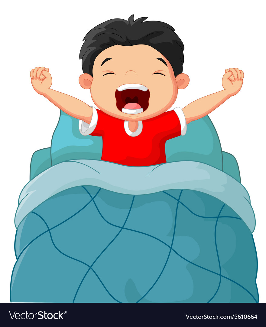 Cartoon children wake up vector image