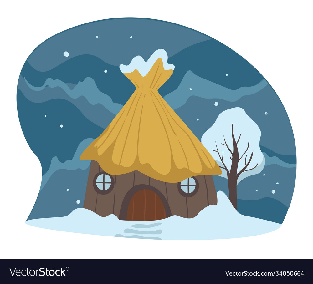 Countryside winter landscape house covered with