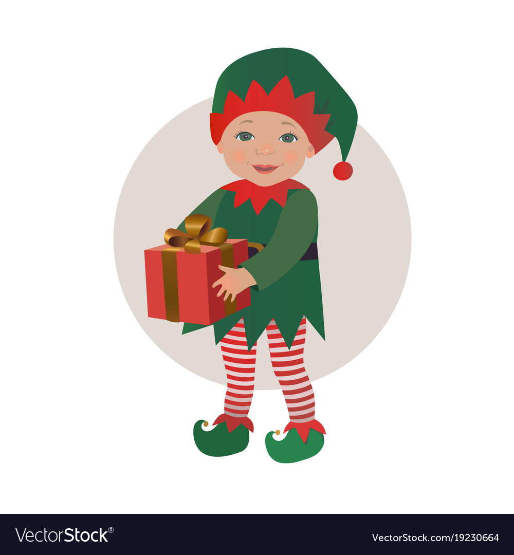 fe6faea8d Cute baby wearing christmas elf costume Royalty Free Vector