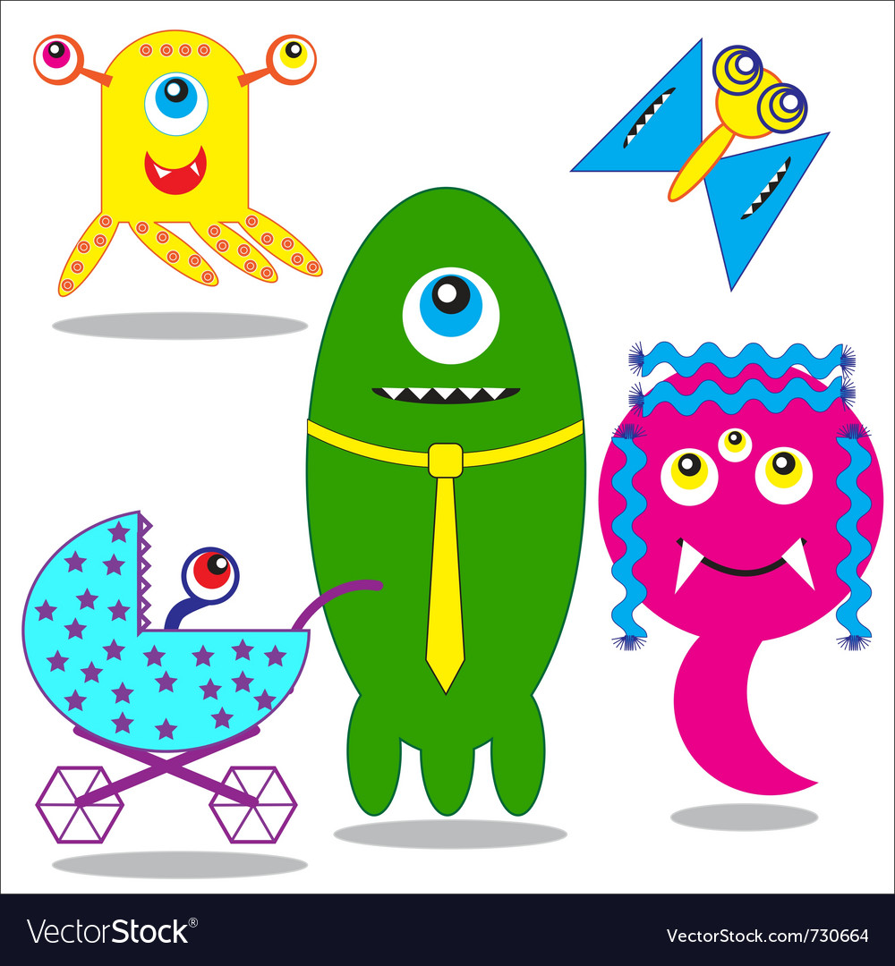Cute funny monsters family vector image